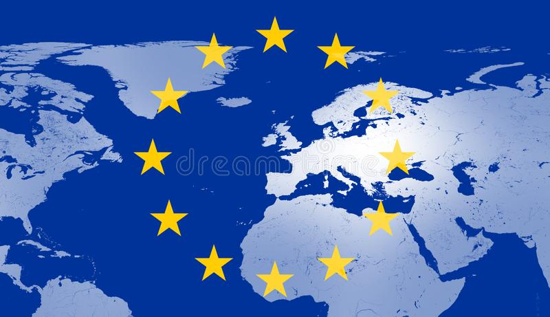 World map with highlighted Europe on map and 12 stars of the flag of Europe 3d-illustration royalty free illustration