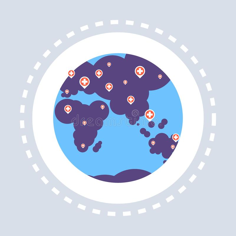 World map hospital location red cross marker geo tag icon healthcare medical service logo medicine and health symbol. Concept flat vector illustration vector illustration