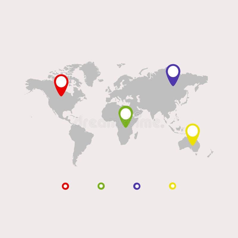 World map, icon. Gray background. Vector illustration EPS 10 royalty free illustration
