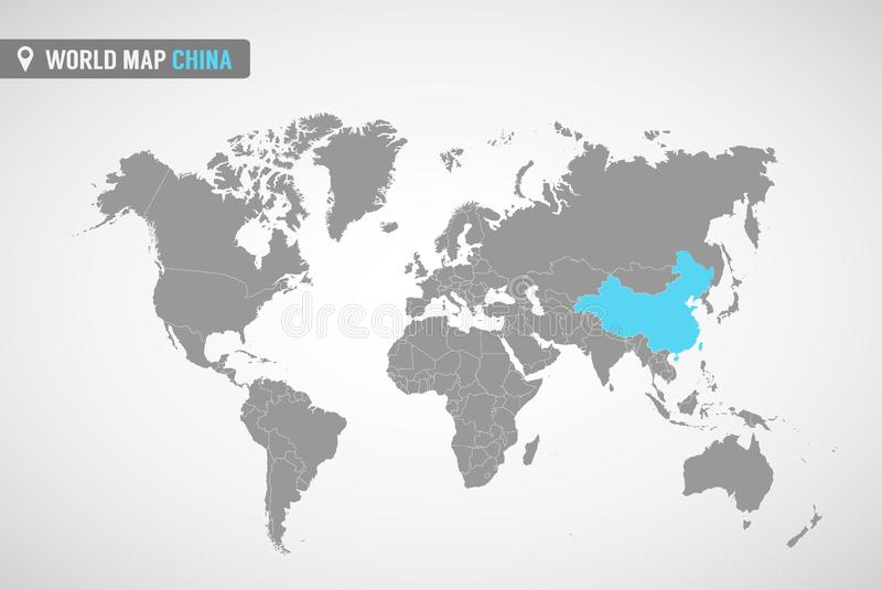World map with the identication of China. Map of China. Political world map in gray color. Asia countries. vector illustration