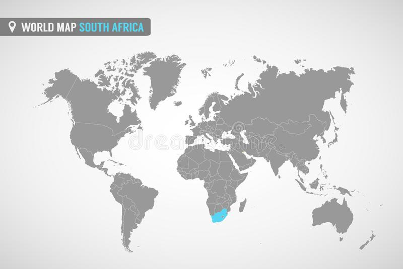 World map with the identication of South Africa. Map of South Africa. Political world map in gray color. Africa countries. stock illustration