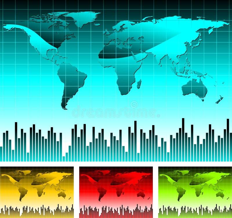 World map illustration. With four color variation vector illustration