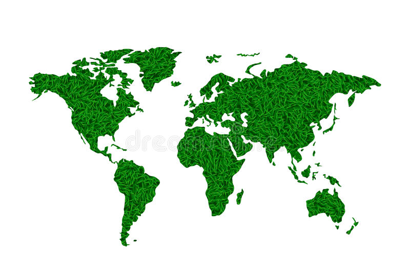 World map 01. Illustration of world map green lawn grass on white background stock illustration