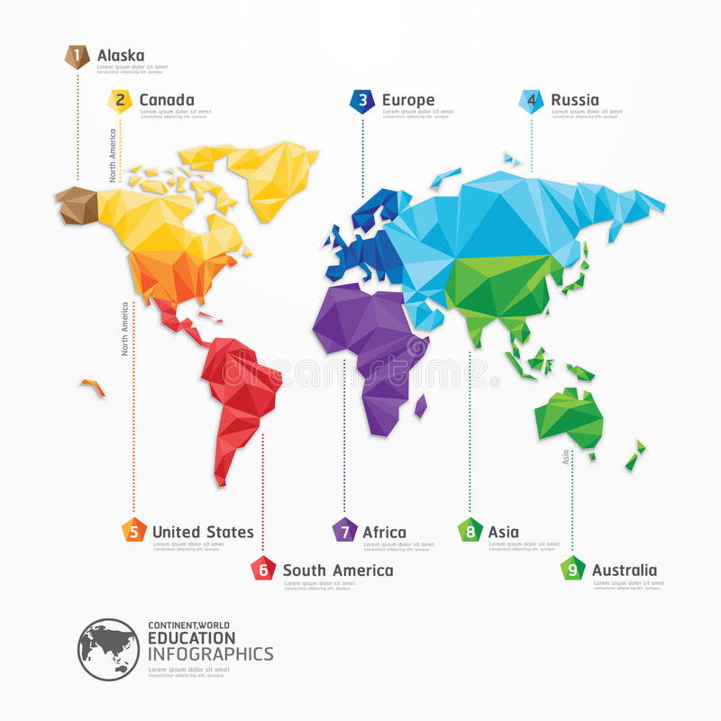 World map illustration infographics geometric concept design. royalty free illustration
