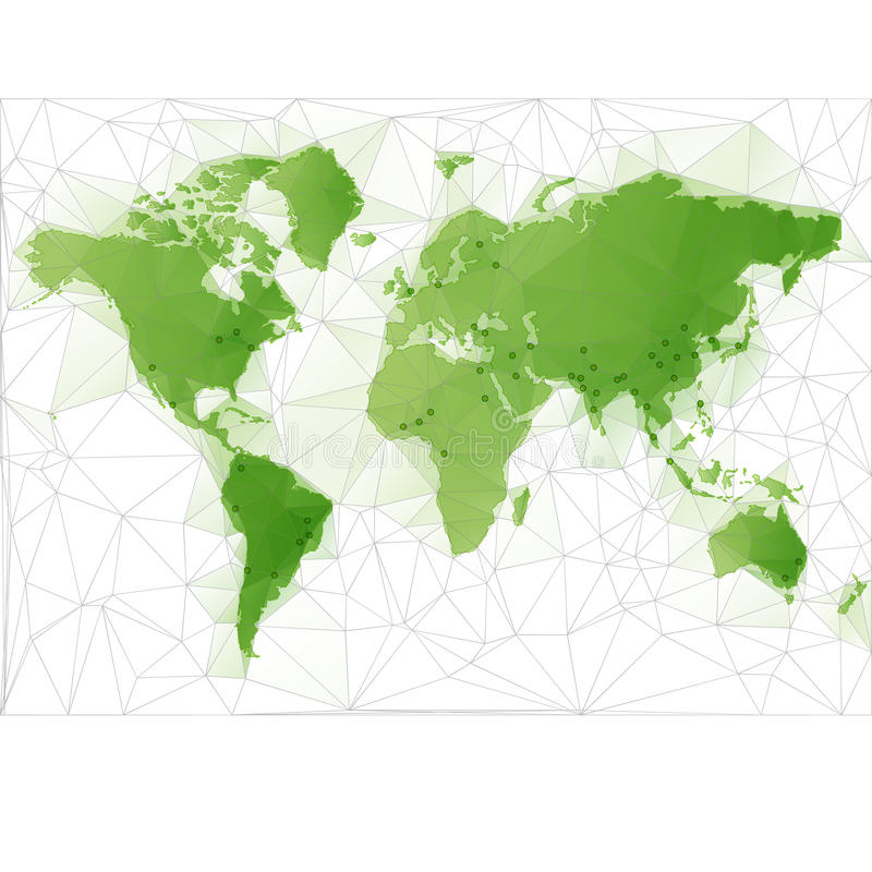 World Map Illustration with largest cities. Triangular World Map with largest cities in the world stock illustration