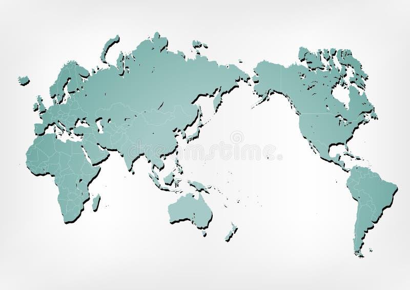 World map illustration with shadows vector illustration