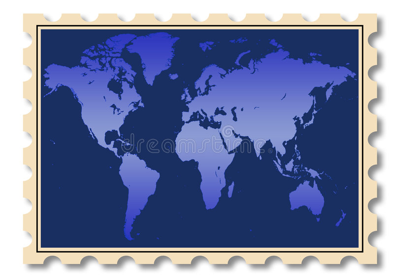 Download World Map Illustration On Stamp Stock Illustration - Image: 6010876