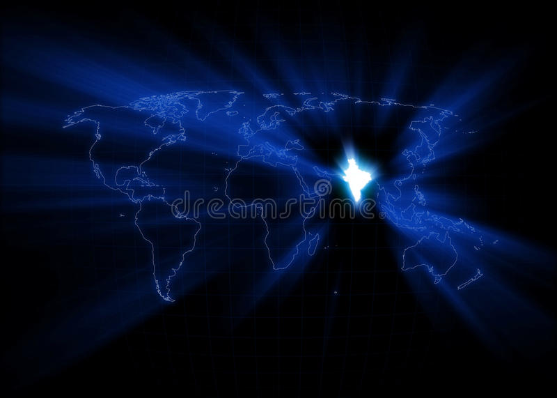 World Map - India. World map with India glowing