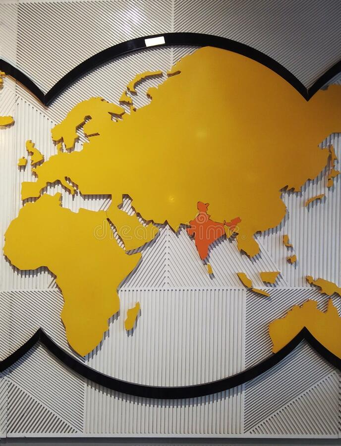 World map India centric stock photography