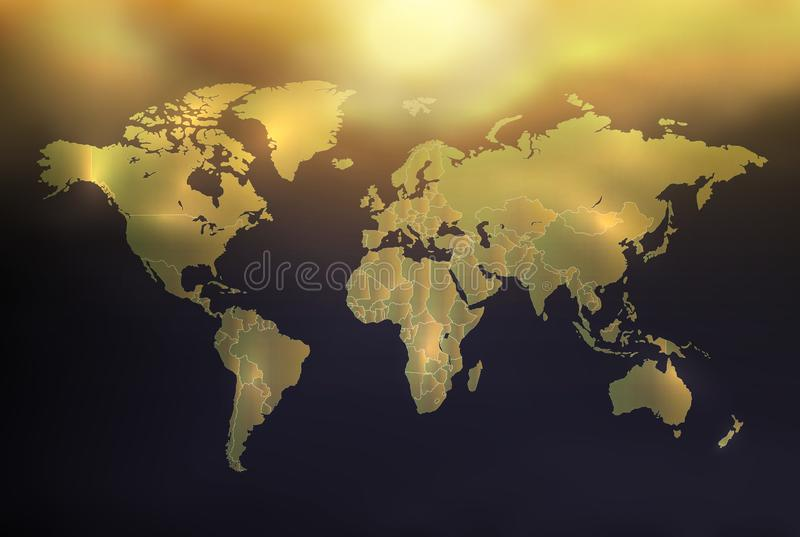 World map with individual states, golden radiant on background with sky and sun, vector stock photography