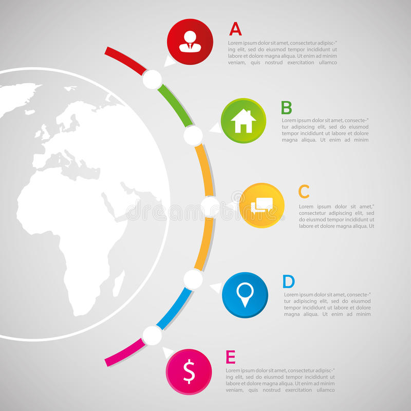World map with infographic elements - communication concept stock illustration
