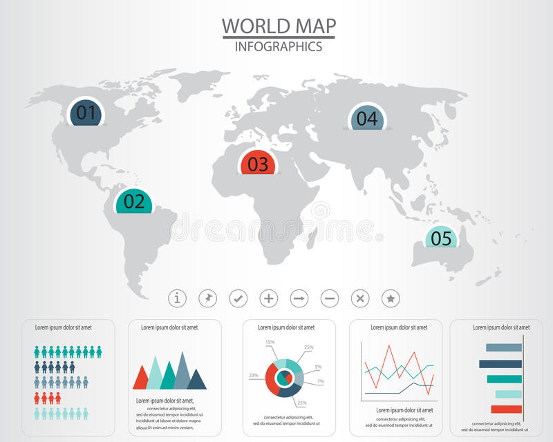 World map infographics stock vector illustration of abstract 53416373 world map and infographics elements can be used for workflow layout diagram step up options statistic elements web design vector illustration gumiabroncs Images