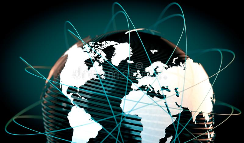 World map and internet commerce. Commercial agreements and internet.Telecommunications and communication networks vector illustration