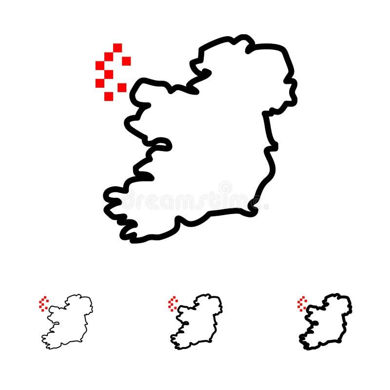 World, Map, Ireland Bold and thin black line icon set stock illustration