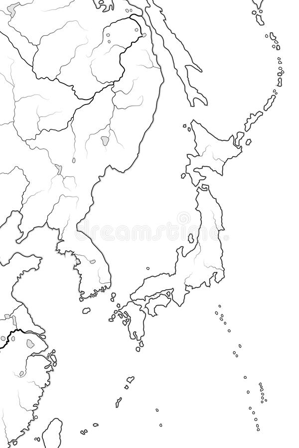 World Map of JAPANESE Archipelago: Japan (endonym: Nippon/Nihon), and its islands. Geographic chart. World Map of JAPANESE Archipelago: Â«Land of royalty free illustration