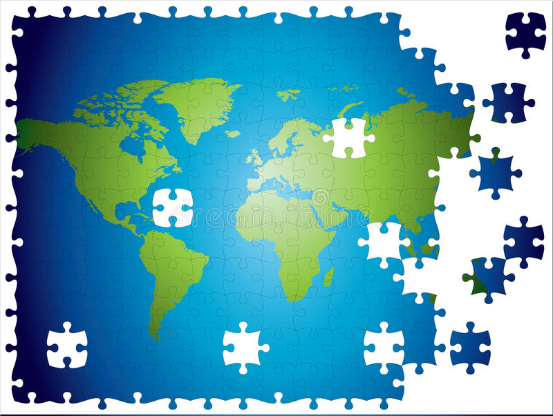 Download World Map Jigsaw, Layered And Fully Editable. Stock Illustration - Image: 9472950