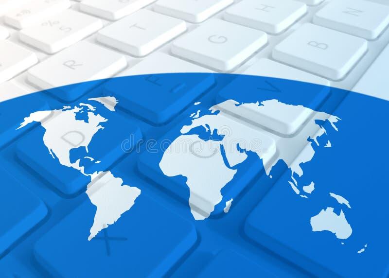 World map on keyboard. Outline map of world on laptop keyboard stock illustration