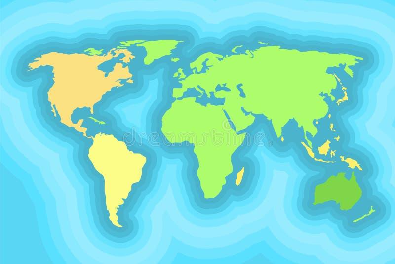 World map for kids wallpaper design stock illustration