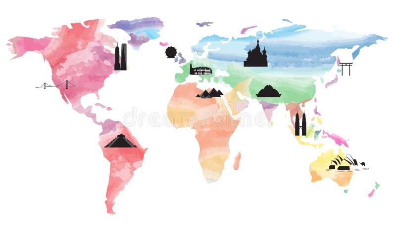 World map landmarks vector illustration