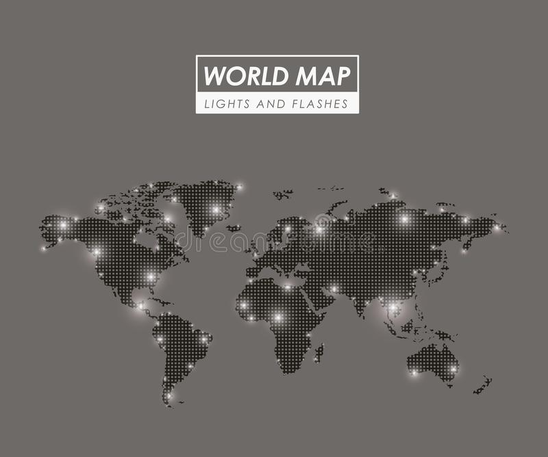 World map lights and flashes in gray silhouette vector illustration