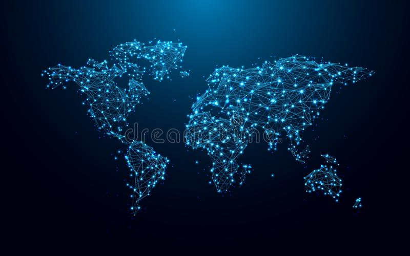 World map from lines and triangles, point connecting network on blue background stock illustration
