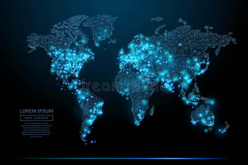 World map low poly blue vector illustration