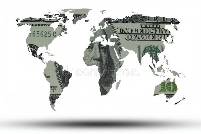 World map made of american dollar on white background stock illustration