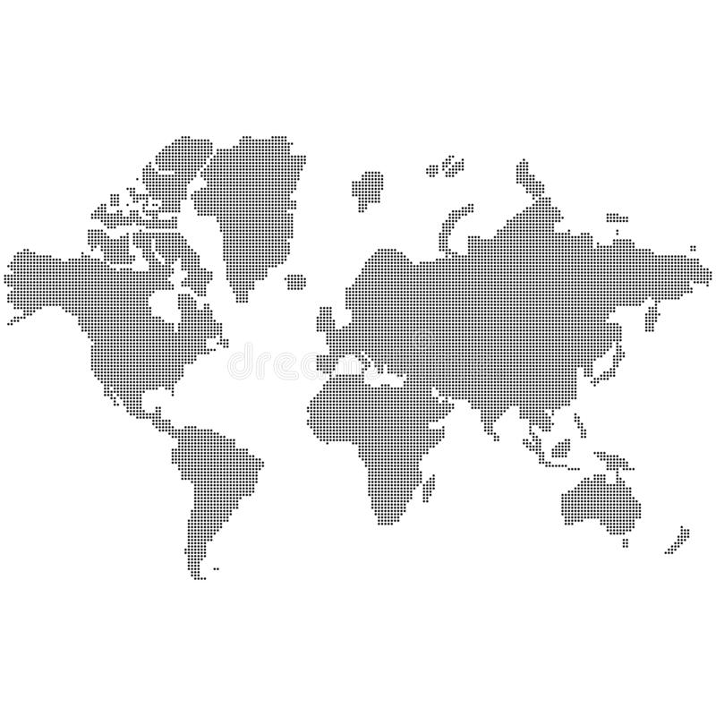 World map made black dots south nourth east west globe of world earth europe america with dots EPS 10 vector illustration