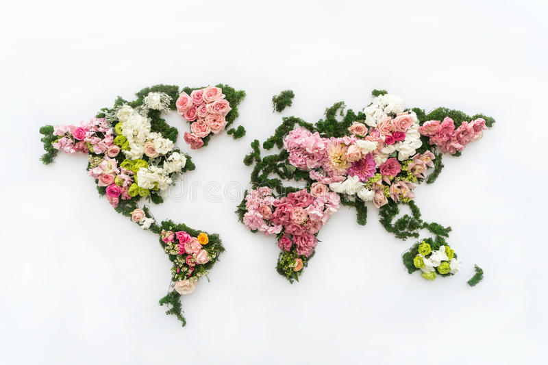 World map made of flowers. A map of the world map made of flowers stock photo