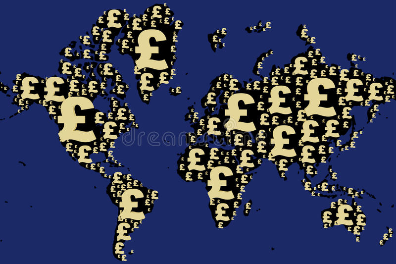World map made with pound sign. In blue background stock illustration