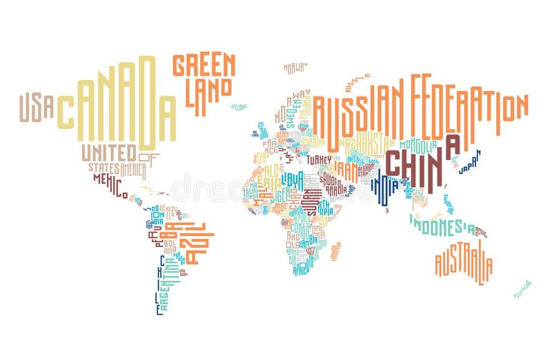 World map made of typographic country names stock vector download world map made of typographic country names stock vector illustration of name font gumiabroncs Gallery