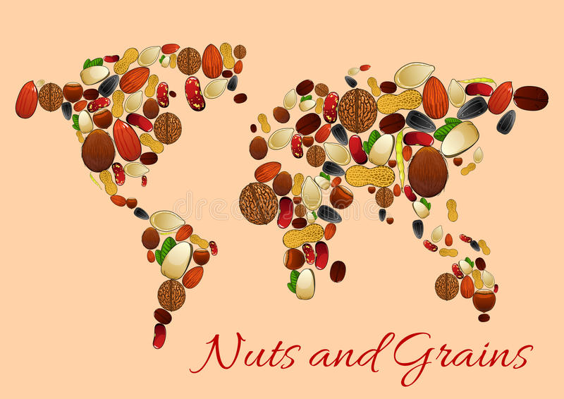 World map made up of nuts, seed and grains stock illustration