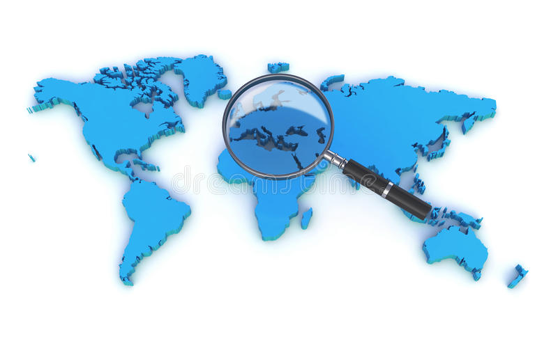 World map and a magnifer stock illustration