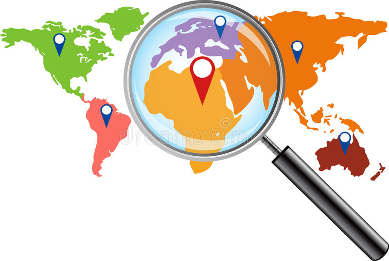 World map with magnifying glass royalty free illustration