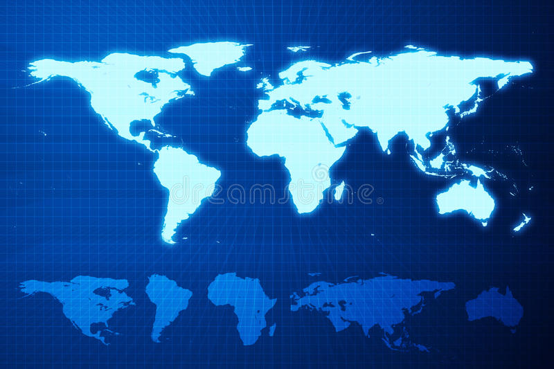 World map and mainland. Earth mainlands on blue deep greeds. Blue background royalty free illustration