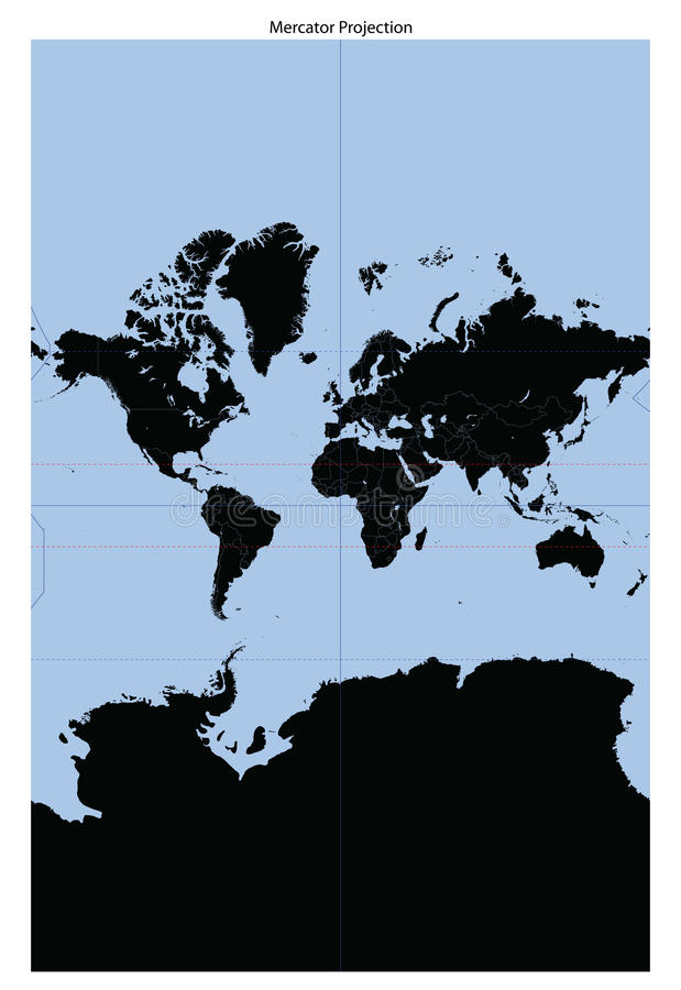 Free World Map (Mercator Projection) Stock Images - 13080194