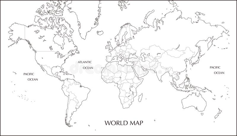 World map, Mercator projection blank map with boundary line. In black and whtie vector illustration