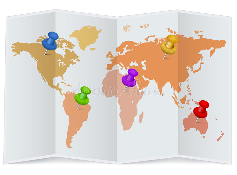 Download World Map With Multicolored Pins Stock Illustration - Image: 33736354