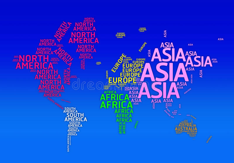 World Map With Names Of Continents Typo Map Stock Illustration - World map with names