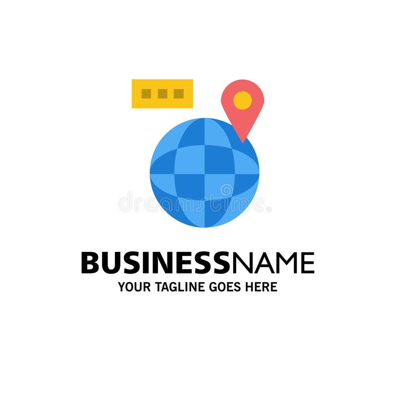 World, Map, Navigation, Location Business Logo Template (Шаблон бизнес-логотипа) Плоский цвет иллюстрация вектора
