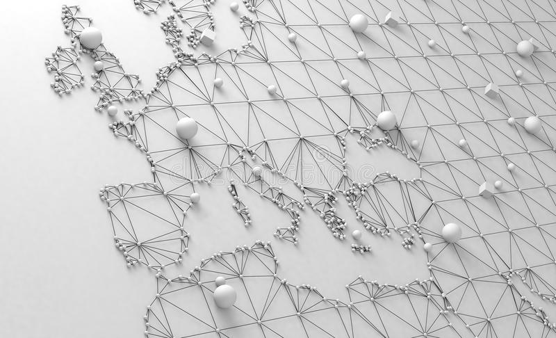 World map and networking. 3d illustration and concept of international logistics of agreements and international business. Networks and companies around the stock illustration