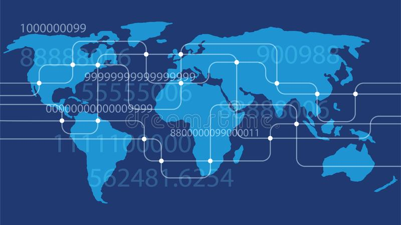 A world map networking system stock image
