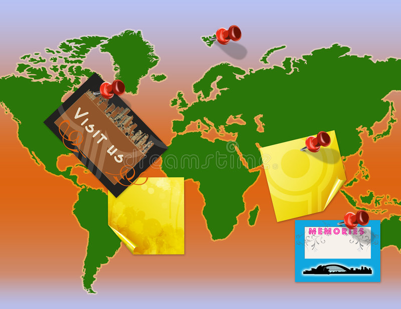 Download World map notice board stock illustration. Image of memo - 4597797