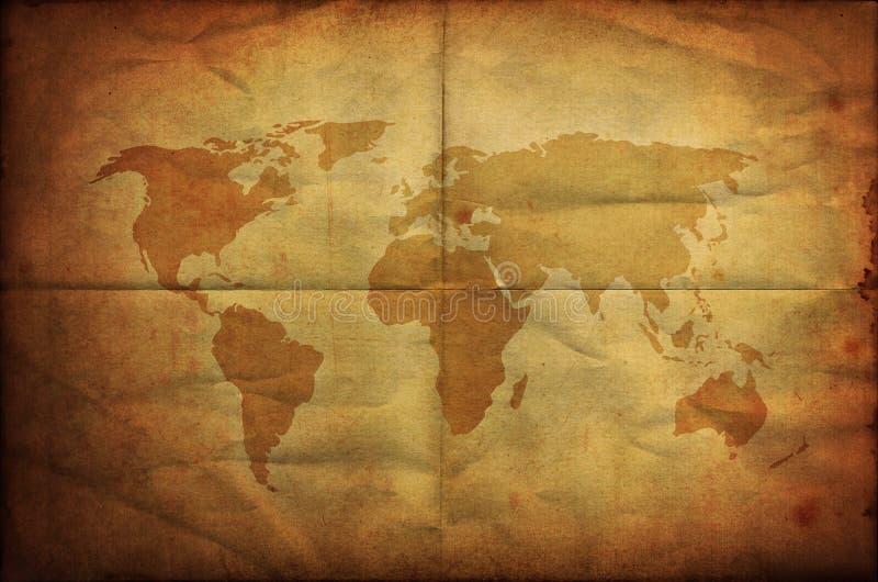 World map on old grunge folding paper