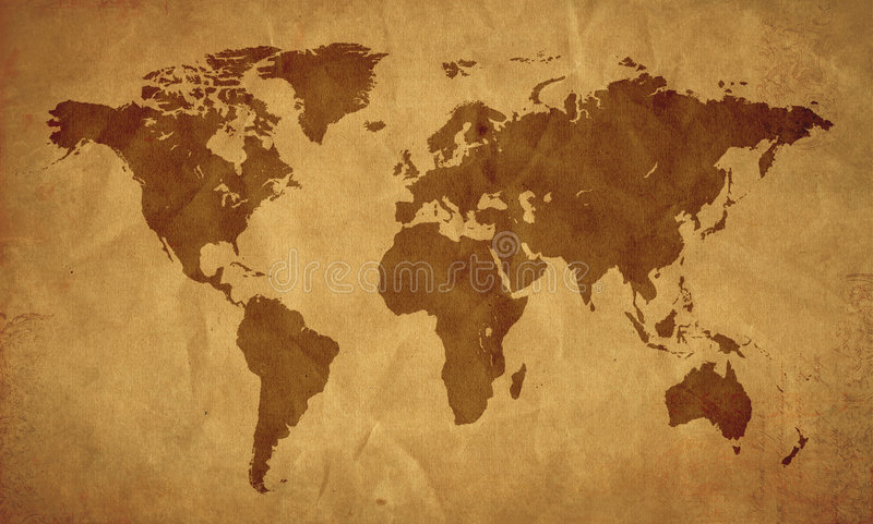 Download World map old look stock illustration. Image of antique - 8396278