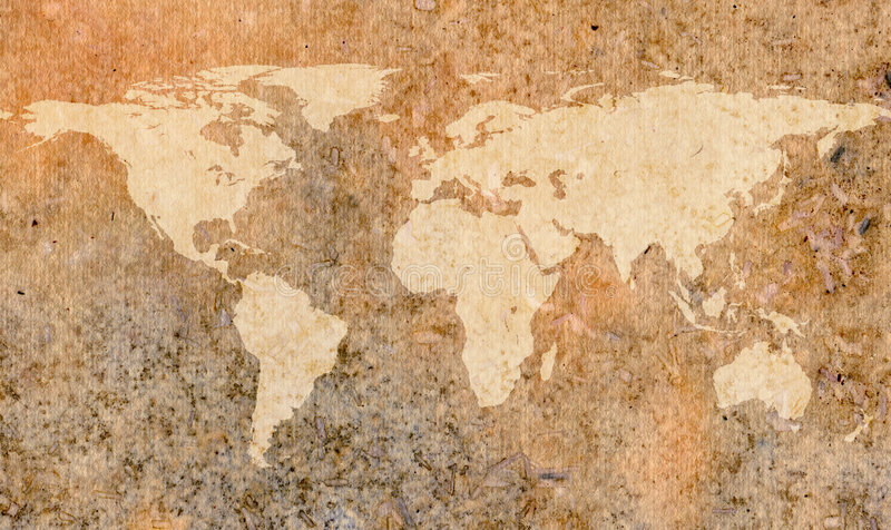 World map on old paper stock illustration