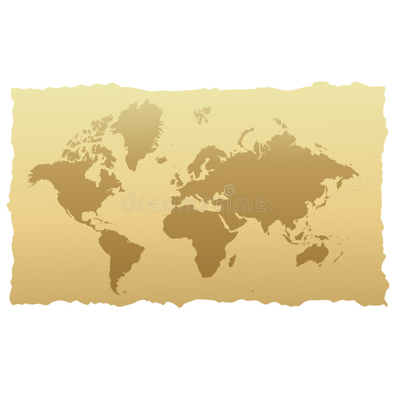 World map on old paper vector illustration