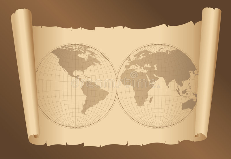 World map on old paper stock illustration