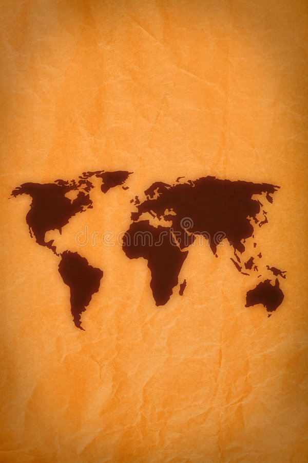 World map on old paper royalty free illustration