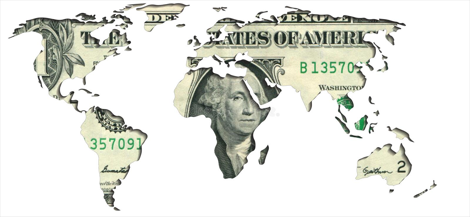 World map one dollar royalty free illustration